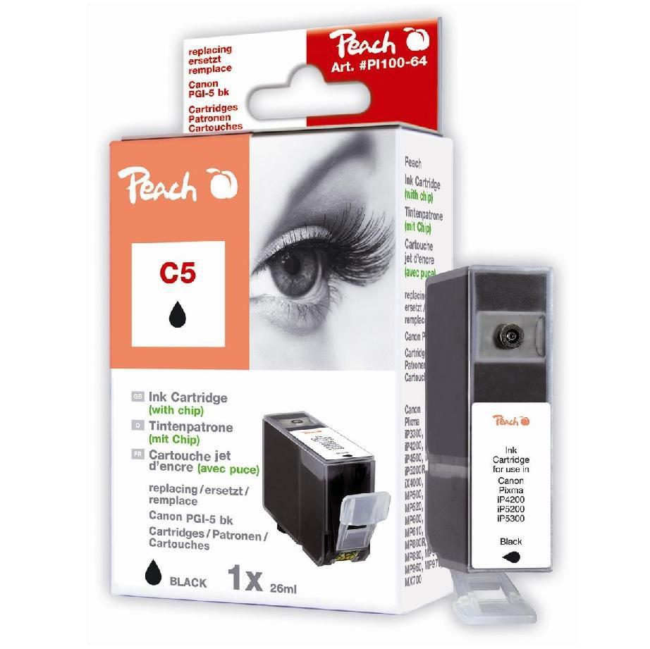 Foto van Peach Inktpatroon PGI-5BK - Black C5 (met chip)