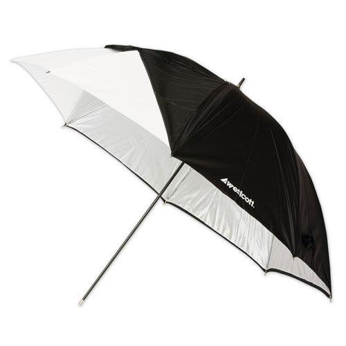 Foto van Westcott 2016 Paraplu Wit + afneembare hoes (114cm / 45 inch)