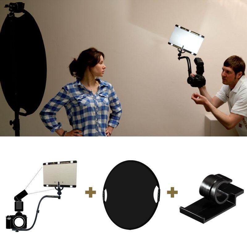Foto van Sunbounce Bounce-Wall Portrait Kit met BWS-B410, Belt Clip, Sun-Mover black-hole and Hardcover