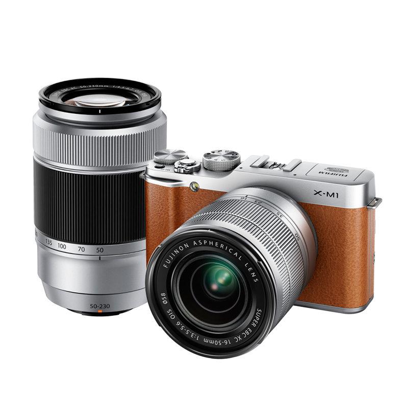 Fujifilm X-M1 systeemcamera + XC 16-50mm + XC 50-230mm Bruin/Zilver