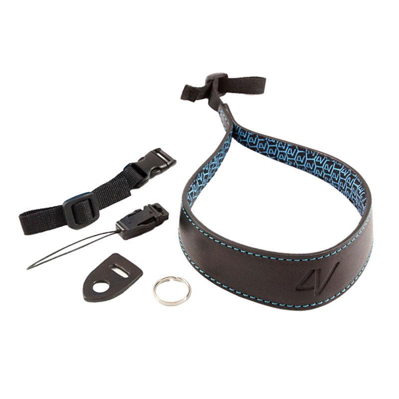 Image of 4V Design Ergo Large Wrist Strap Tuscany Leather Black/Cyan