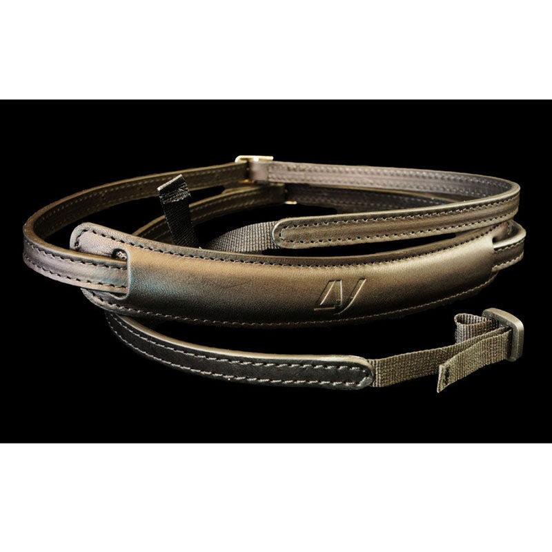 Image of 4V Design Lusso Slim Neck Strap Tuscany Leather Black/Black