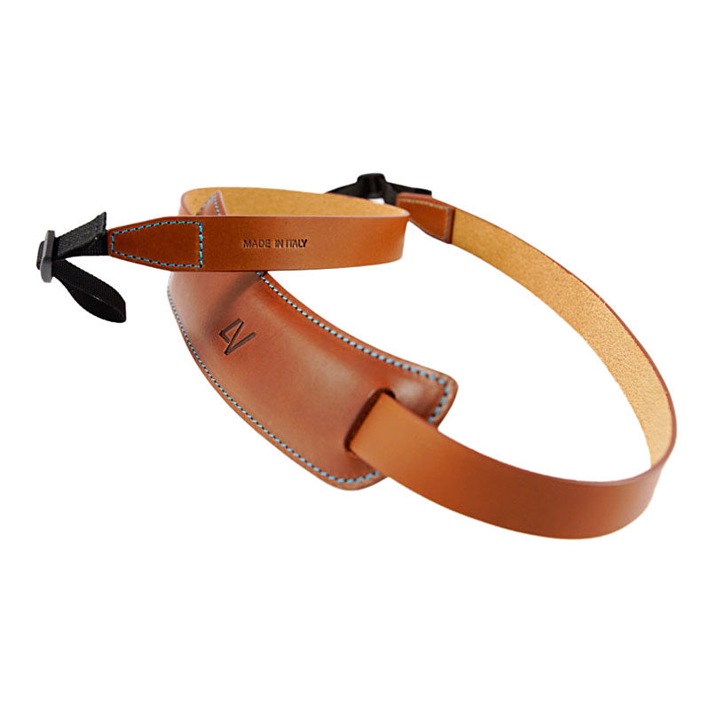 Image of 4V Classic Large Neck Strap - Tuscany Leather Brown/Cyan