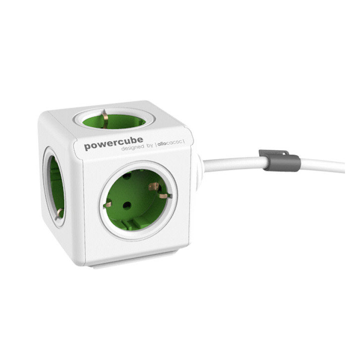 Image of Allocacoc PowerCube Extended Green 1,5m cable