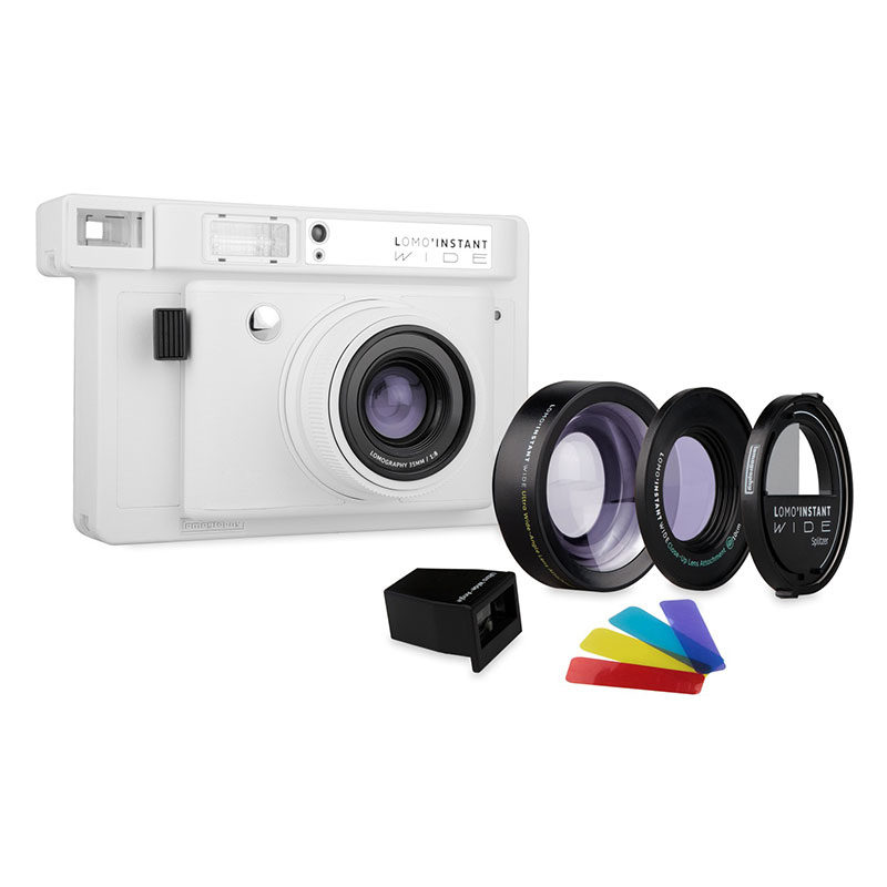 Lomography Polaroid Camera Lomo'Instant Wide White Incl. 3 Lenzen