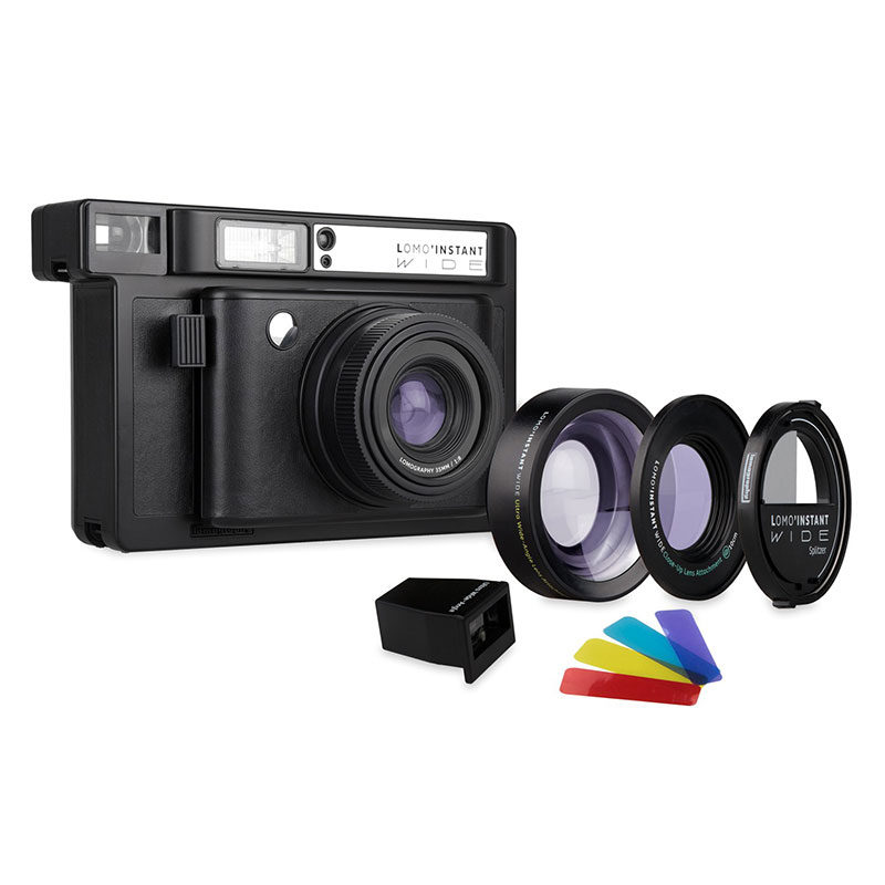 Lomography Polaroid Camera Lomo'Instant Wide Black Incl. 3 Lenzen