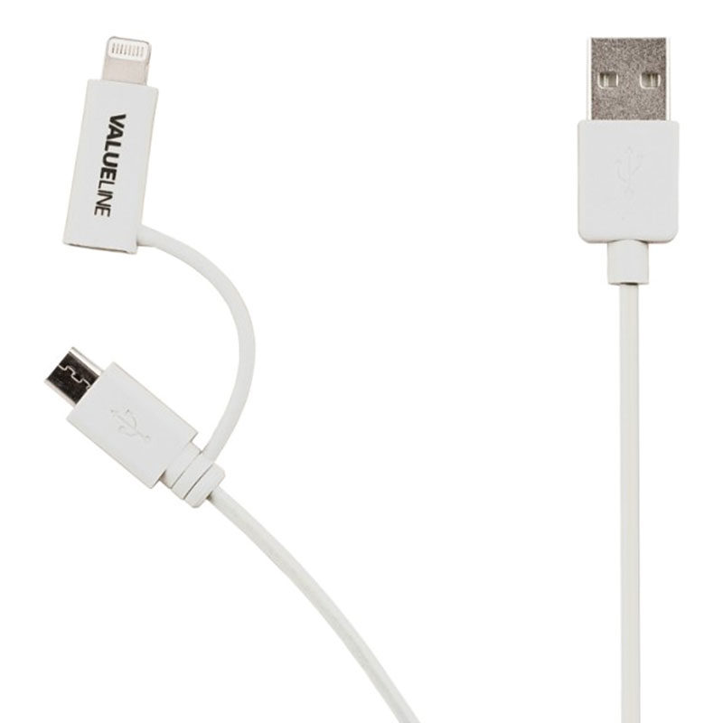 Foto van Valueline 2-in-1 Micro USB + Lightning kabel 1m Wit