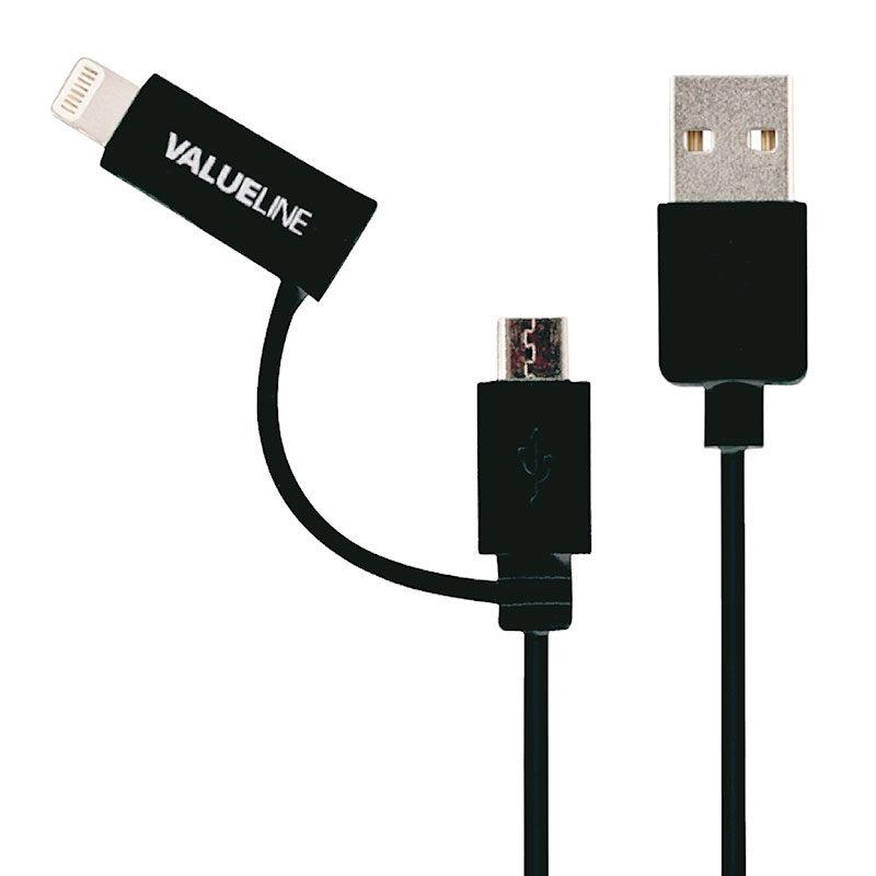 Foto van Valueline 2-in-1 Micro USB + Lightning kabel 1m Zwart