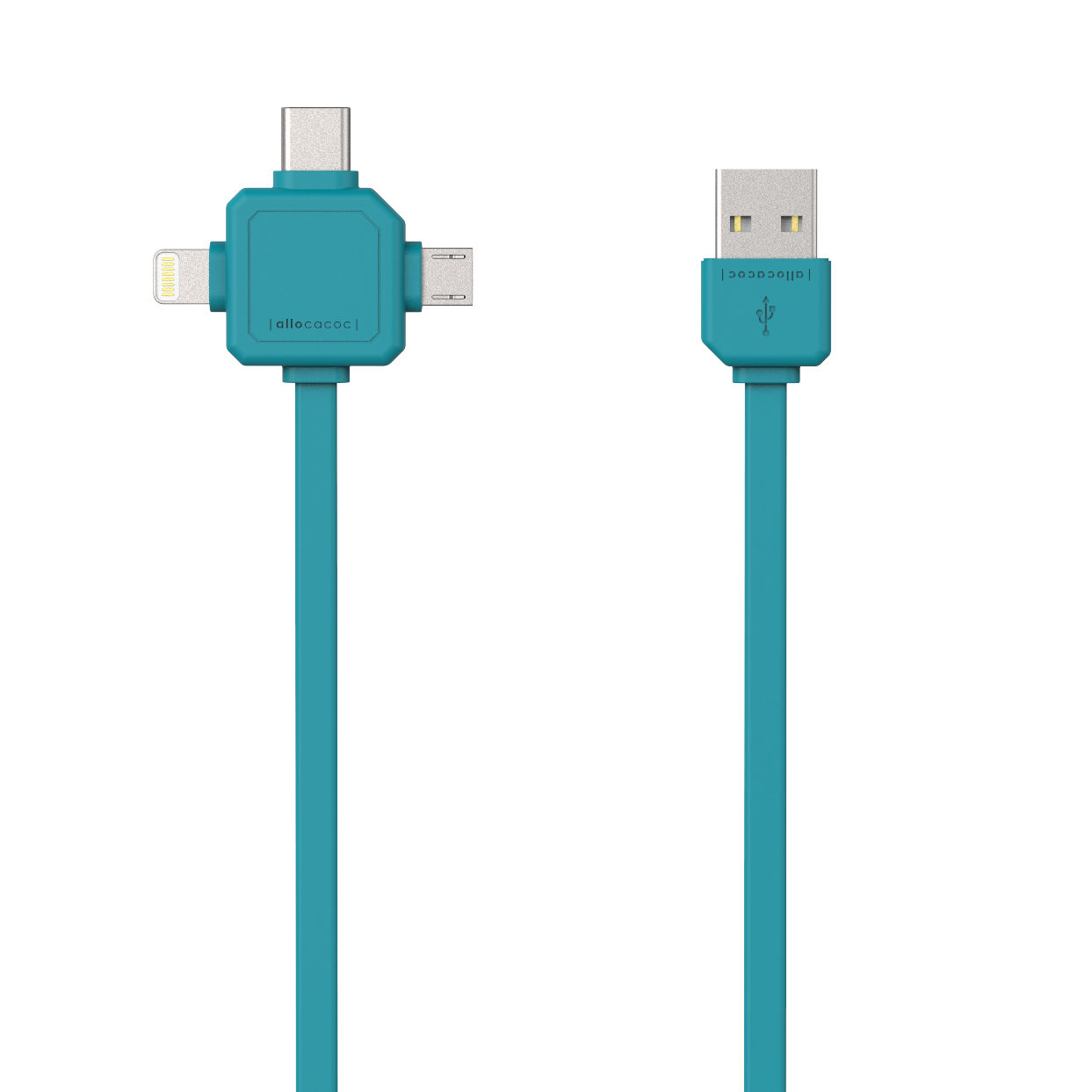 Image of Allocacoc 3-in-1 USB-kabel Blauw
