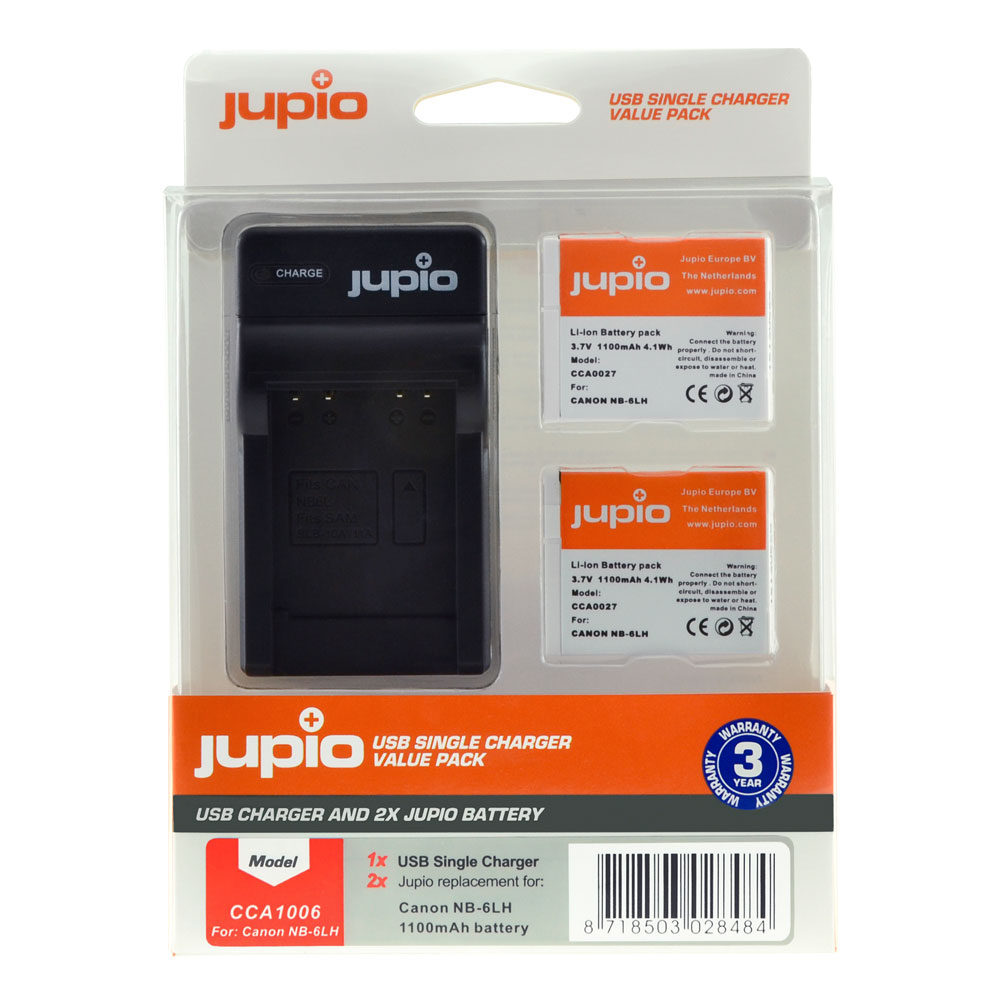 Canon NB-6LH USB Single Charger Kit (Merk Jupio)