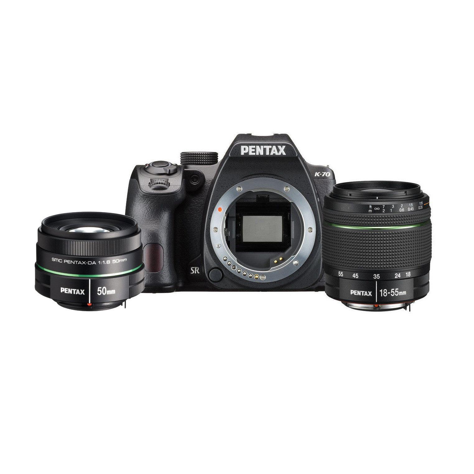 Pentax K-70 DSLR Zwart + 18-55mm + 50mm f/1.8