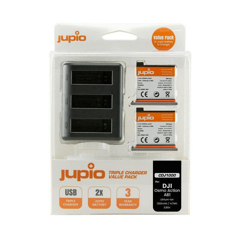 DJI Osmo Action Triple Battery Charger + 2x AB1 accu (Merk Jupio)