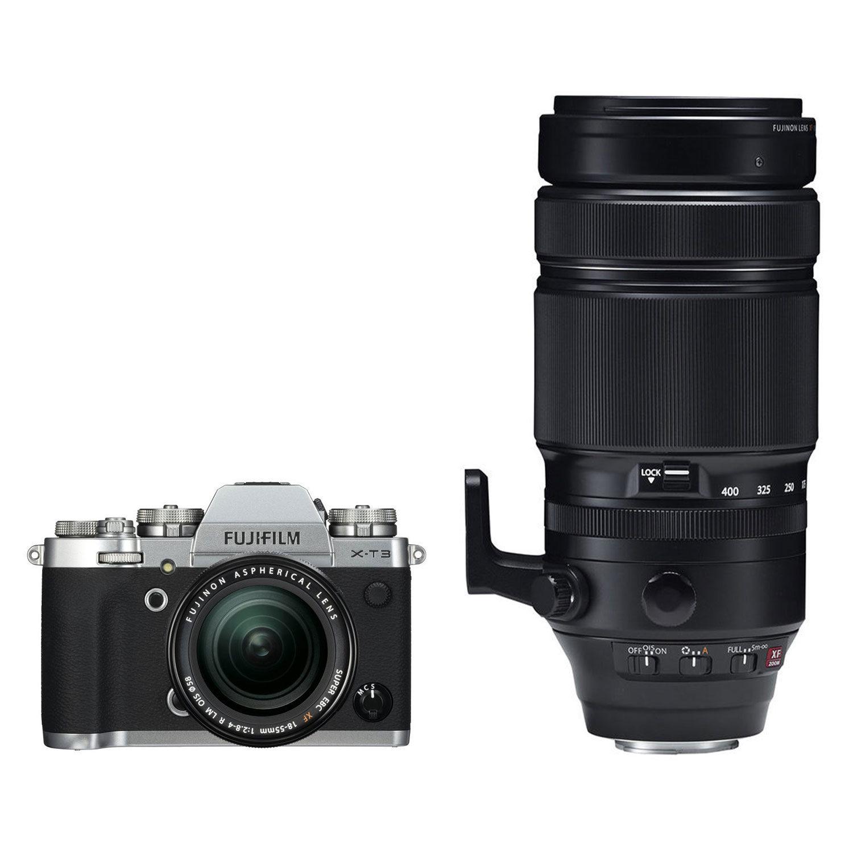 Fujifilm X-T3 systeemcamera Zilver + 18-55mm f/2.8-4.0 OIS + XF 100-400 R