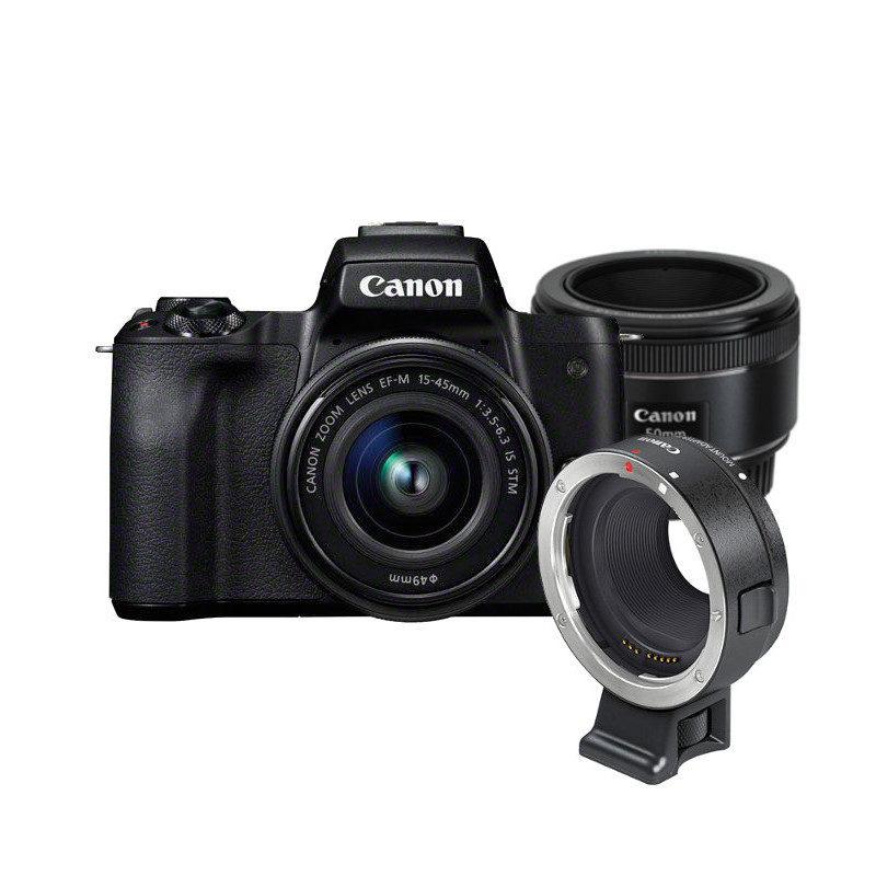 Canon EOS M50 systeemcamera Zwart + 15-45mm IS STM + 50mm + EF Mount <br/>€ 745.00 <br/> <a href='https://www.cameranu.nl/fotografie/?tt=12190_474631_241358_&r=https%3A%2F%2Fwww.cameranu.nl%2Fnl%2Fp2359725%2Fcanon-eos-m50-systeemcamera-zwart-15-45mm-is-stm-50mm-ef-mount%3Fchannable%3De10841.MjM1OTcyNQ%26utm_campaign%3D%26utm_content%3DEOS%2BM%2Bsysteemcamera%26utm_source%3DTradetracker%26utm_medium%3Dcpc%26utm_term%3DDigitale%2Bcamera%26apos%3Bs' target='_blank'>naar de winkel</a>