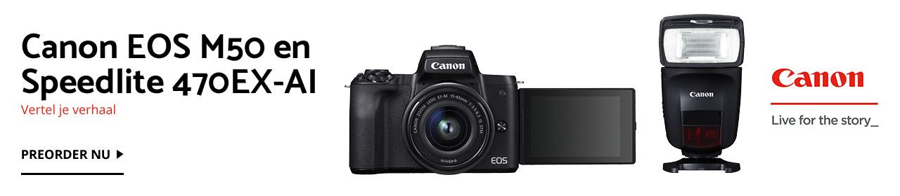 Preorder Canon EOS M50 en Canon Speedlite 470EX-AI