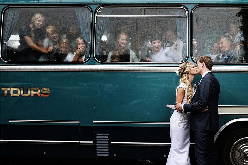 De foto met de bus