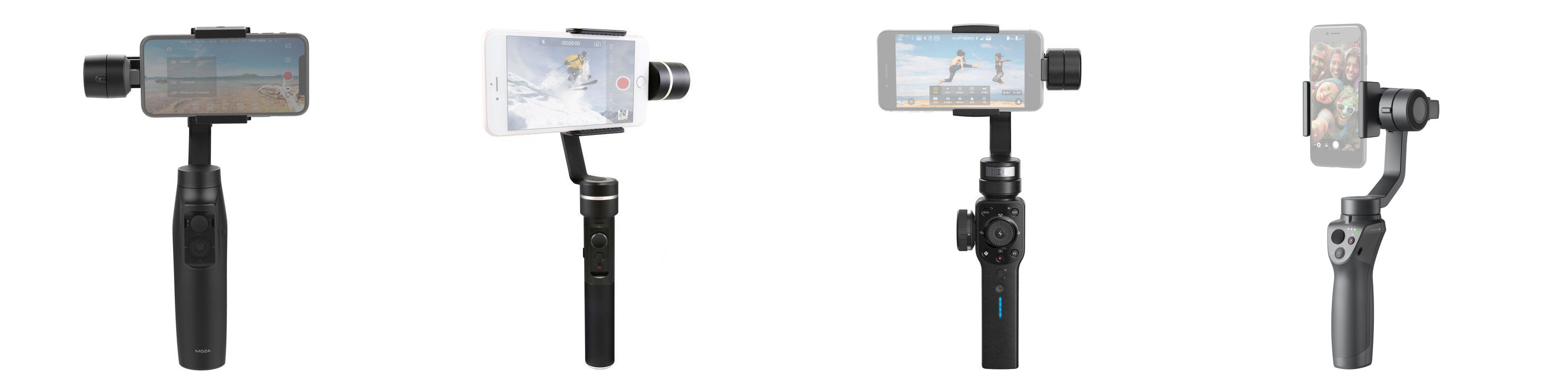 Wat zijn de verschillen tussen de Moza Mini MI, DJI Osmo Mobile 2, Feiyu Tech SPG, en de Zhiyun Smooth 4?