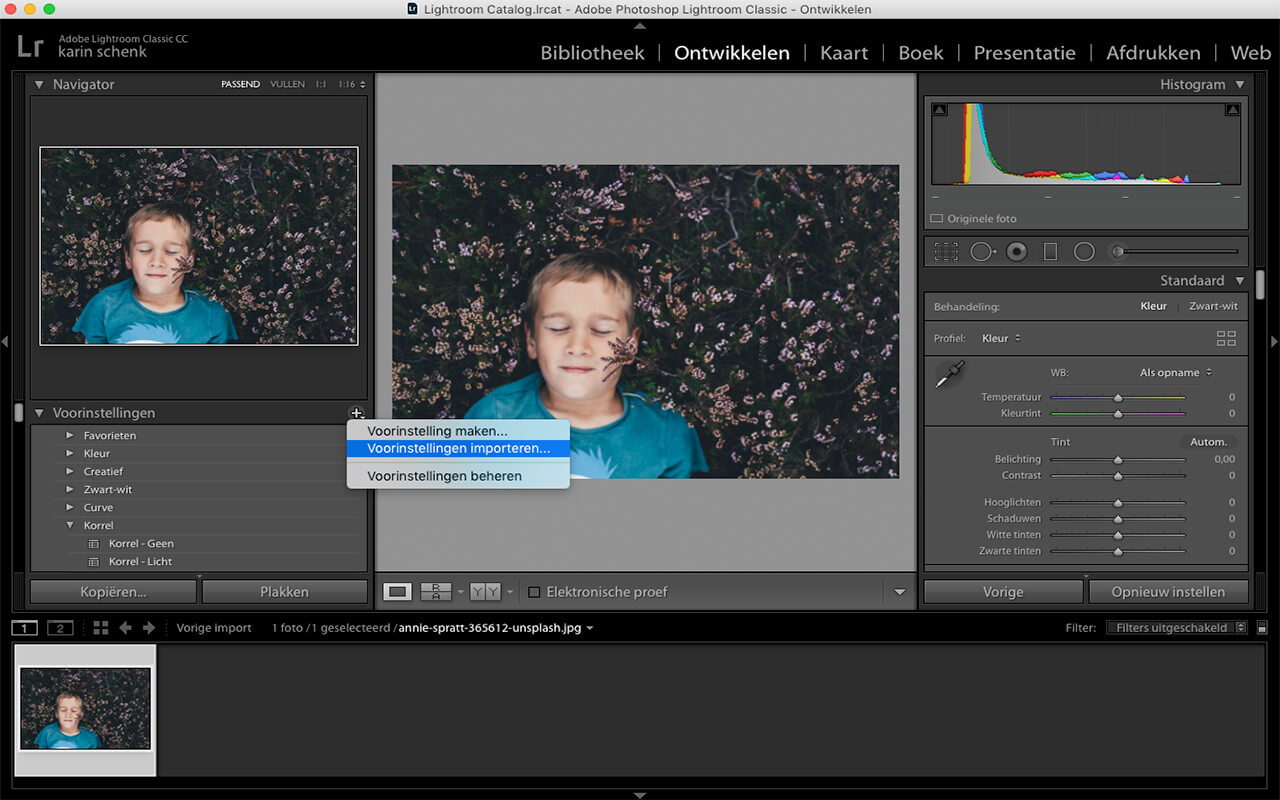Presets maken en inladen in Lightroom - 4