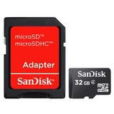 SanDisk 32GB Micro SDHC Class 4 20MB/s geheugenkaart + adapter - thumbnail 1
