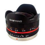 Samyang 7.5mm f/3.5 Fisheye UMC Micro 4/3 objectief Zwart - thumbnail 2