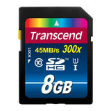 Transcend SDHC Premium 8GB 300x UHS-1 SD-kaart - thumbnail 1