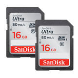 SanDisk 2x 16GB SDHC Ultra UHS-1 Class 10 80MB/s geheugenkaart - thumbnail 1