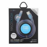 EnerGea Nylotough 2-in-1 Micro USB + USB-C-kabel 1.5m Blauw - thumbnail 2