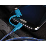 EnerGea Nylotough 2-in-1 Micro USB + USB-C-kabel 1.5m Blauw - thumbnail 3