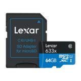 Lexar High Speed 64GB 633x micro SDXC-kaart + adapter - thumbnail 1