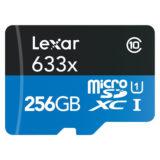 Lexar High-Performance 256GB 633x UHS-I Micro SDXC kaart + adapter - thumbnail 1