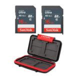 Sandisk 16GB SDHC 48MB/s geheugenkaart 2 stuks + MCC-1 Cardcase - thumbnail 1