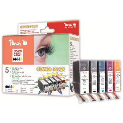 Peach Inktpatroonset CLI-521 BK/C/M/Y & PGI-520BK (5-pack)