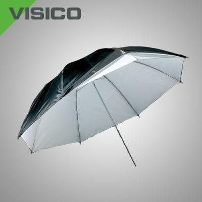 Visico Dual-Duty Paraplu UB-007 Zwart/zilver & Halfdoorlatend 80cm