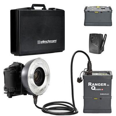 Elinchrom Ranger Quadra + Eco RingFlash set in koffer + extra GEL battery
