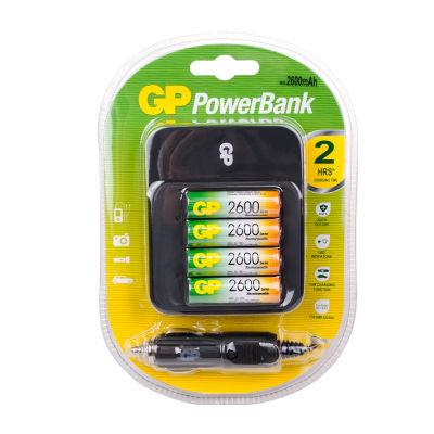 GP Powerbank PB550 + 4 AA-batterijen (2600 mAh)