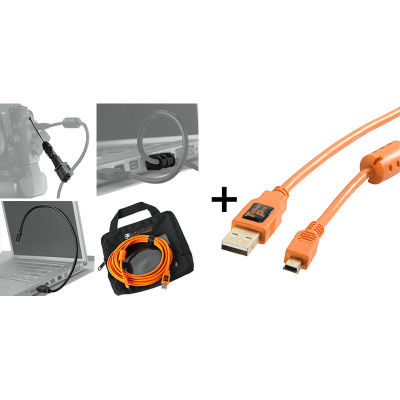 Tether Tools Starter Tethering Kit with USB 2.0 Mini-B 5 Pin Cable 4.5 Meter Orange