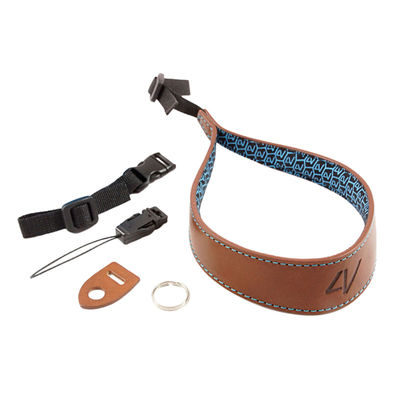 4V Design Ergo Large Wrist Strap Tuscany Leather Brown/Cyan
