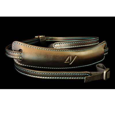 4V Design Lusso Medium Neck Strap Tuscany Leather Black/Cyan