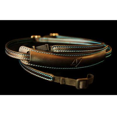 4V Design Lusso Slim Neck Strap Tuscany Leather Black/Cyan