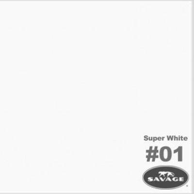 Savage Achtergrondrol Super White (nr 01) 1.38m x 11m
