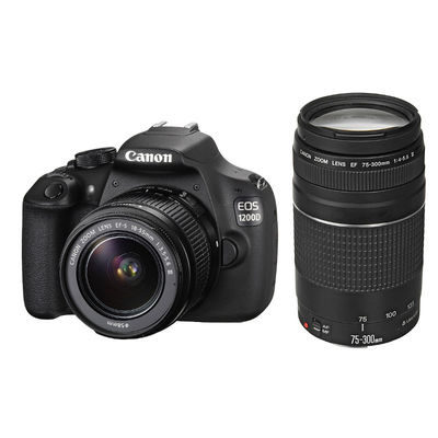 Canon EOS 1200D DSLR + 18-55mm III DC + 75-300mm III DC open-box