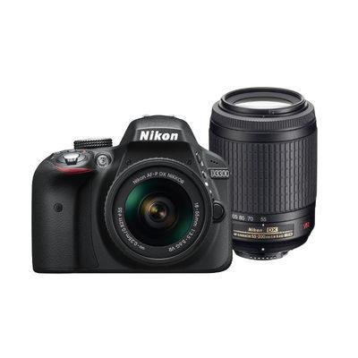 Nikon D3300 DSLR Zwart + AF-P 18-55mm VR + 55-200mm VR II