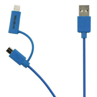 Valueline 2-in-1 Micro USB + Lightning kabel 1m Blauw
