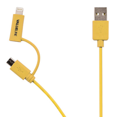 Valueline 2-in-1 Micro USB + Lightning kabel 1m Geel