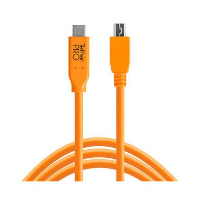 Tether Tools TetherPro USB-C naar USB 2.0 Mini-B 8-Pin 4.6m kabel Oranje