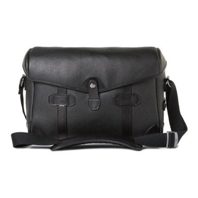 Barber Shop Small Messenger Pageboy Grained Black Leather