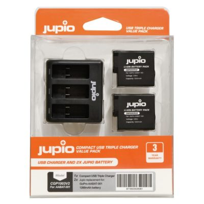 GoPro Triple Battery Charger + 2x Battery voor Hero, 5, 6 en 7 (Merk Jupio)